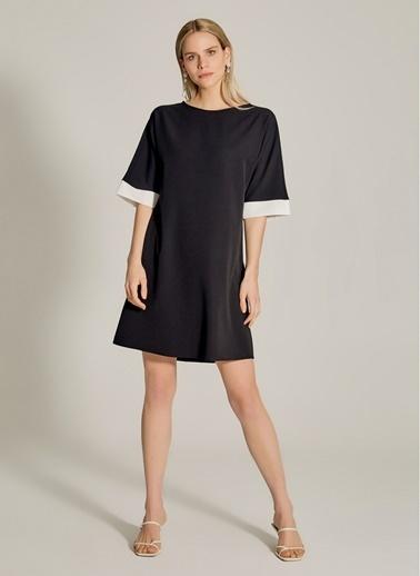 NGSTYLE Essentials - Renk Bloklu Elbise Siyah